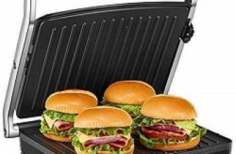 Placas de Grill Electricas Antiadherentes 1500W con Capacidad para 4 Sándwiches Tostadoras