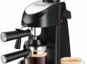 AICOOK Máquina de Café 4 tazas de café, Presión de 3,5 bares, 800W, Negro