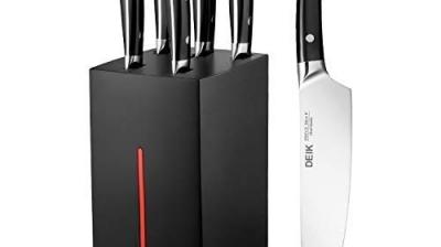 Deik Cuchillos Cocina de Acero Inoxidable, 6 Piezas, con Soporte de Madera Resistente a la Humedad