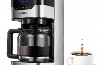 Aicook Cafetera de Goteo, Programable, Filtro Permanente, Tanque de Agua DE 51 oz/ 1.5 litros/ 12 Tazas/ 900W