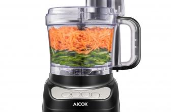 Aicok Procesador de Alimentos 500W,1.8 Litros 3 Modos de Velocidad, 2 CuchillasProcesador de Alimentos, Aicok Robot de cocina, 500W,1.8 Litros Cortador de Verdura Electrico, 3 Modos de Velocidad, 2 Cuchillas Una para Cortar la Carne y Otra para Hacer Masa, Color Negro [Clase de eficiencia energética A+++] de AICOK