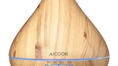 Aicook Humidificador Ultrasónico Aromaterapia 300ml, 4 Temporizador, 7 Colores