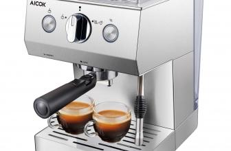 Aicok Cafetera Espresso 15 Bares, 1.5 L Tanque de Agua, 2 Tazas, Acero Inoxidable