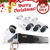 SANNCE Kit de 4 Cámaras de Vigilancia Seguridad 1920 x 1080P CCTV NVR P2P 4CH 1080P y 4 Camaras 139.99 Eur